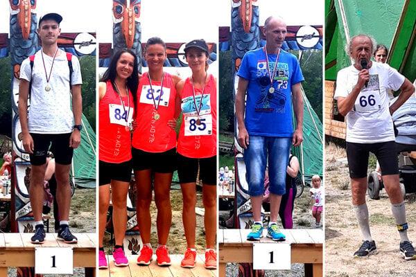 Na snímkach časť víťazov jednotlivých kategórií. Zľava Ján Sopko, Ivana Janásová, Anton Kĺbik. Vpravo organizátor Michal Šusták.