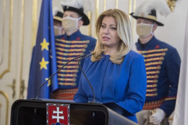 Zuzana Čaputová počas príhovoru v Prezidentskom paláci.