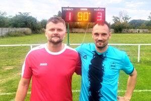 Strelci za zápasu Branč B – Dolné Štitáre: Róbert Galo (vľavo) a Vladimír Nemec.