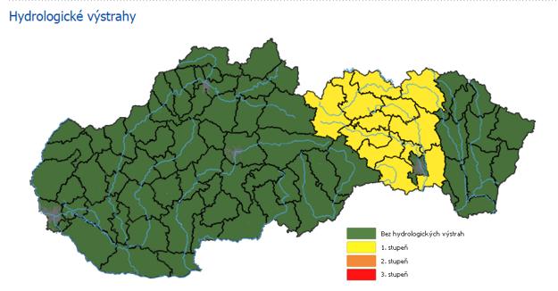 Výstraha zatiaľ platí pre časť Prešovského a Košického kraja.
