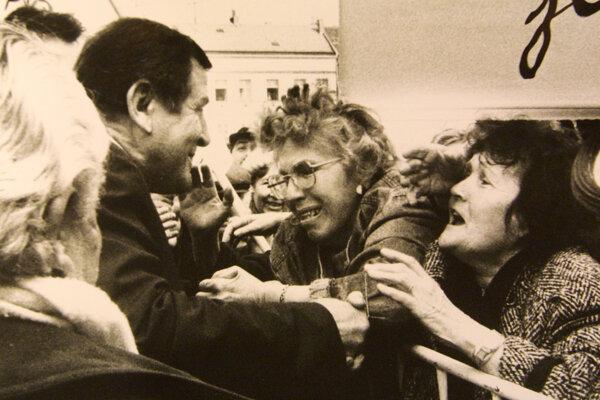 V. Mečiar na mítingu v Banskej Bystrici v 90.rokoch 20. storočia.
