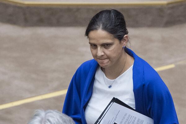 Ministerka spravodlivosti Mária Kolíková (Za ľudí) a opozičný poslanec Boris Susko (Smer).