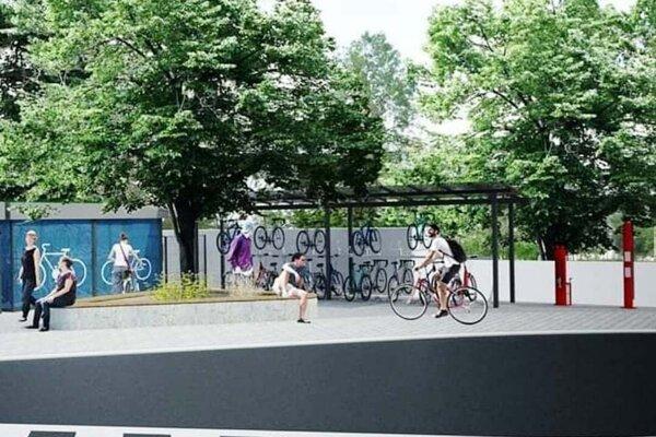 Vizualizácia projektu Stanica Bike and Ride, ŽST Senec.