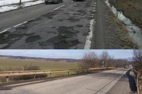 Cesta I. triedy medzi Nitrianskymi Sučanmi a Novákmi. Stav zo 17. februára a 3. marca.
