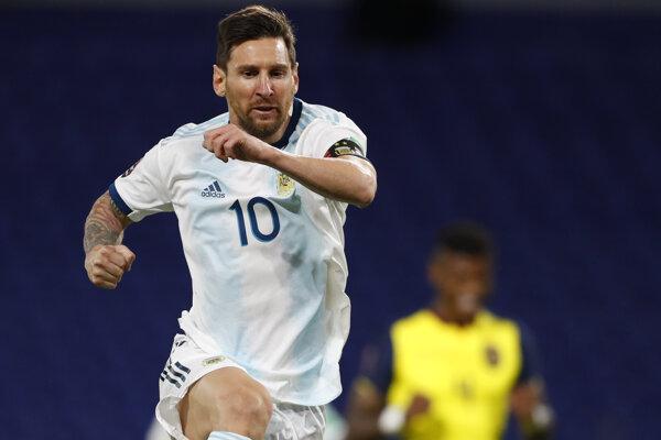 Lionel Messi (Argentína) v zápase kvalifikácie o postup na MS 2022 proti Ekvádoru.