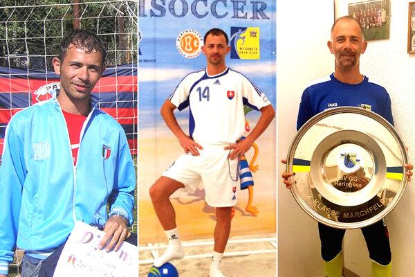 Martin Hindák - na snímke vľavo z roku 2005, v strede ako reprezentant SR v plážovom futbale a vpravo po úspechu v rakúskej regionálnej lige.