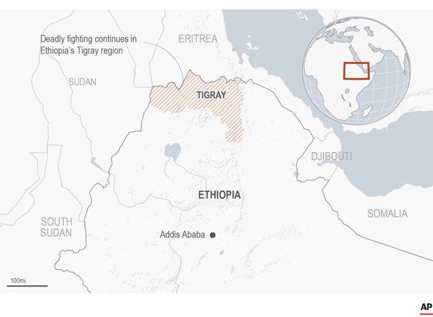 Mapa ukazuje štát Tigraj na severe Etiópie.