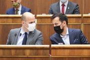 Podpredsedovia NR SR za hnutie OĽaNO Gábor Grendel a za stranu Za ľudí Juraj Šeliga.