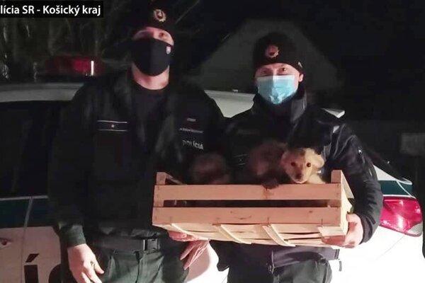 Policajti so zachránenými šteniatkami.