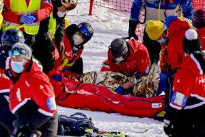 Tommy Ford mal hrozivý pád - obrovský slalom, zjazdové lyžovanie.