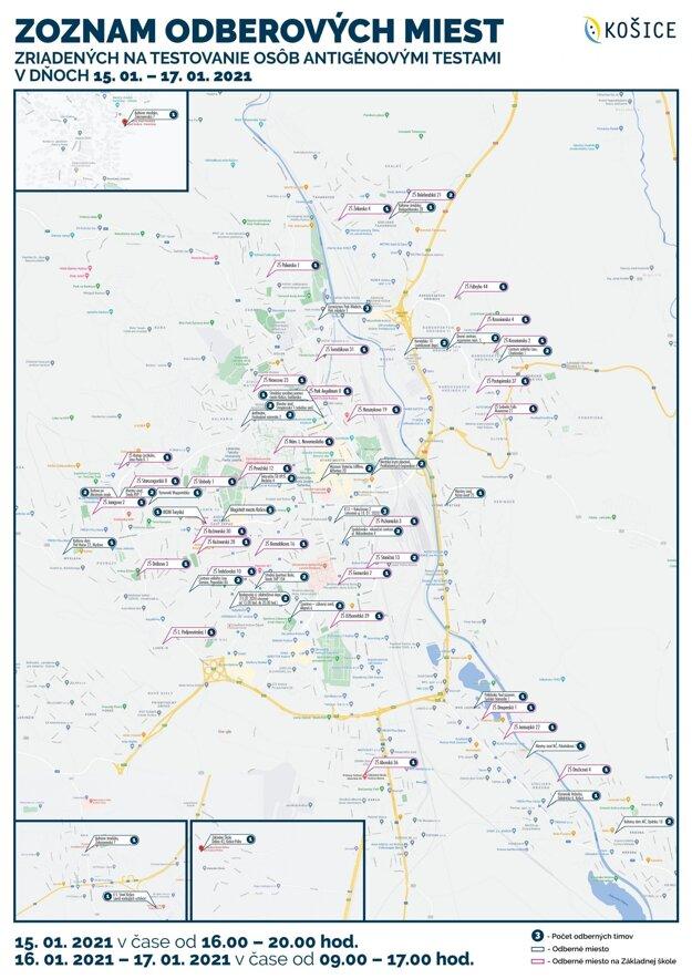 Zoznam odberných miest nájdete aj na stránke https://korona.kosice.sk/zoznam-odbernych-miest/