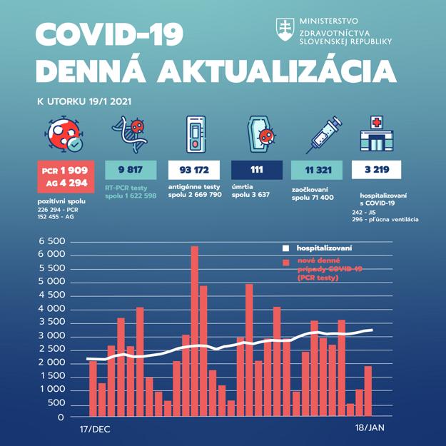 Pandemická situácia na Slovensku k 19. januáru 2021.