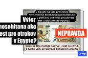 Stovky používateľov Facebooku zdieľali v januári 2021 príspevky s obrázkom, podľa ktorého boli otroci v starom Egypte trestaní poškodením hematoencefalickej bariéry a čuchového nervu prostredníctvom paličky cez nos podobnej tej, aká sa používa pri teste na ochorenie COVID-19. Tieto tvrdenia sú nepravdivé. Obrázok síce pochádza z Egypta, ale zobrazuje vyšetrenie oka. Podľa odborníkov sú testy z nosohltana bezpečné a mozog pri nich nie je poškodený.