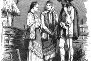 Typické valašké odevy z polovice 19. storočia na dobovej francúzskej ilustrácii
