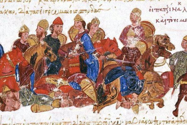 Nomádski bojovníci, pravdepodobne Pečenehovia, na stredovekej miniatúre z 13. storočia.