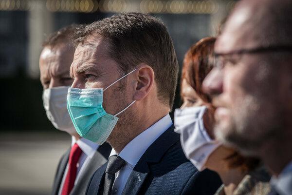 Predsedovia koaličných strán - zľava Boris Kollár, Igor Matovič, Veronika Remišová a Richard Sulík.