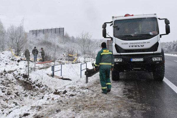 Oprava plynového potrubia v Košiciach.