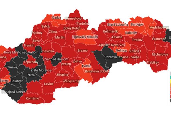 Slovensko podľa Covid automatu. Stav platný od pondelka 15. 2.