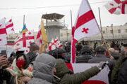 Protest proti zadržaniu gruzínskeho opozičného politika Nika Melia pred väznicou neďaleko od Tbilisi.