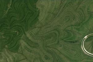 Pásy sa na satelitných záberoch zjavujú počas každého ročného obdobia. Tento záber je z leta 2019.