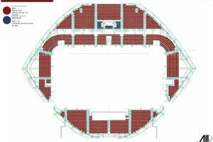 Farebné vyhotovenie sedačiek na prešovskom štadióne podľa podkladov verejného obstarávania.