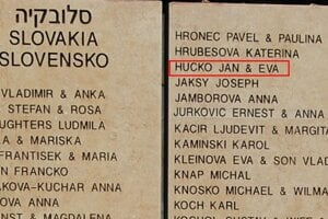 Na Múre cti v Jeruzaleme sú vytesané aj mená Ján a Eva Hučkovci.