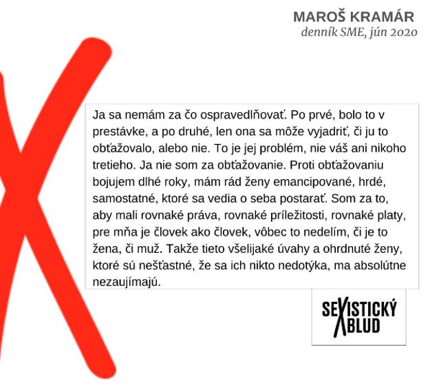 Výrok Maroša Kramára o sexuálnom obťažovaní tiež získal nomináciu