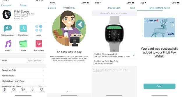 Pridanie platobnej karty do hodiniek Fitbit.