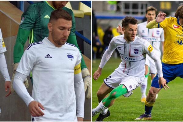 Erika Jendrišeka (vľavo) a Michala Pintéra (vpravo vpredu) sme zvolili najlepšími hráčmi Nitry, respektíve FC ViOn, v uplynulom prvom kole nadstavby Fortuna ligy.