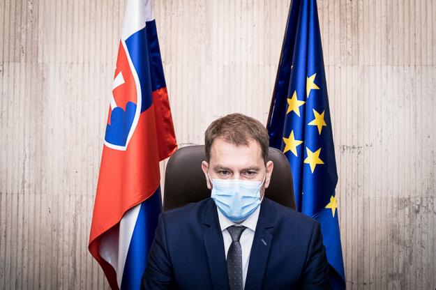 21. marec 2020. Predseda vlády Igor Matovič počas prvého zasadnutia novovymenovanej vlády.