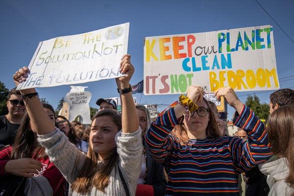 Snímka z protestu Fridays for Future v Bratislave 20. septembra 2019.