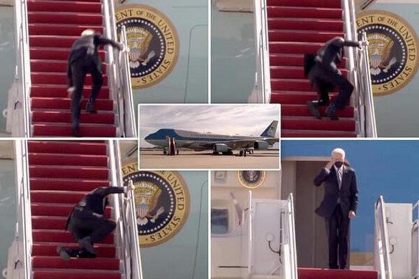 Biden sa pošmykol trikrát. Na záver však nezabudol zasalutovať.