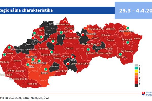 Rozdelenie okresov od 29. marca podľa Covid automatu.