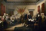 Deklarácia nezávislosti 4. júla 1776 s členmi Výboru piatich a otcami zakladateľmi uprostred scény - Johnom Adamsom, Thomasom Jeffersonom, Benjaminom Franklinom, Rogerom Shermanom a Robertom Livingstonom, obraz- od amerického maliara Johna Trumbulla.
