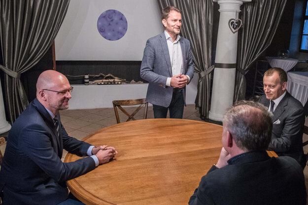 5. marec 2020, Bratislava. Igor Matovič, Boris Kollár, Andrej Kiska a Richard Sulík na spoločnej večeri pred začiatkom koaličných rokovaní o vytvorení vládnej koalície.