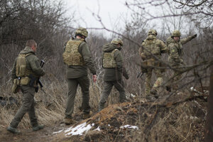 Ukrajinskí vojaci na východe krajiny.