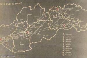 Mapa znázorňujúca, z ktorých miest a kláštorov presúvali rehole do centralizačných táborov.