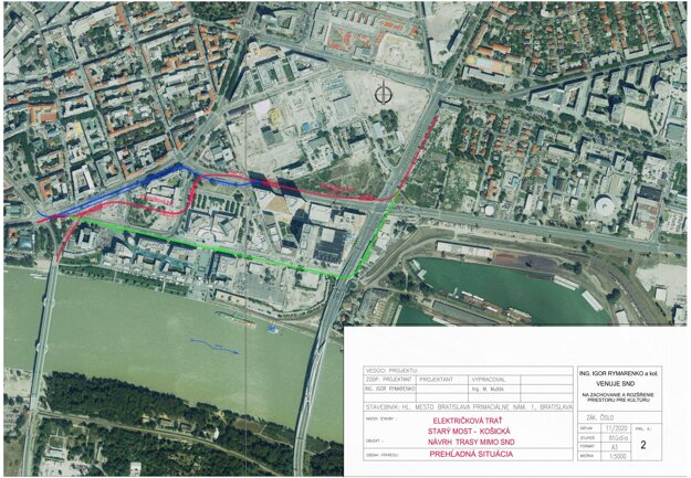 Igor Rymarenko navrhol alternativnu (červenú) trasu k trase navrhovanej bratislavským magistrátom (zelená trasa).