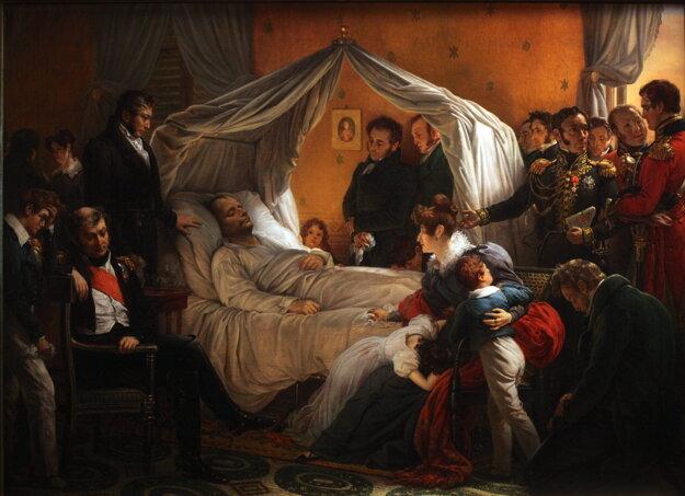 Veľký cisár na smrteľnej posteli na obraze Charlesa de Steubena.