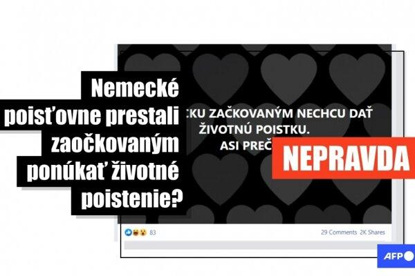 Začiatkom mája 2021 zdieľalo viac ako 2300 slovenských používateľov Facebooku príspevky, podľa ktorých nemecké poisťovne odmietajú ponúkať životné poistenie zaočkovaným proti ochoreniu Covid-19. Nie je to pravda, pre agentúru AFP to potvrdili zástupcovia nemeckých poisťovní aj asociácií.