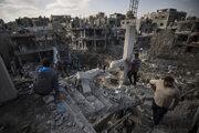 Zničené budovy v Beit Hanoun