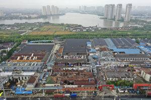 Zničená časť mesta Šen-čen.