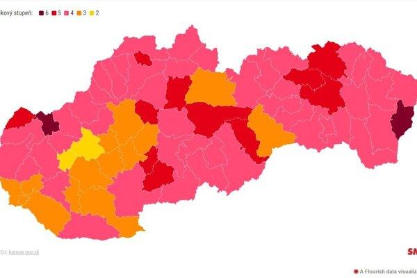 Takéto vyfarbenie oravských okresov prináša uvoľnenie opatrení.