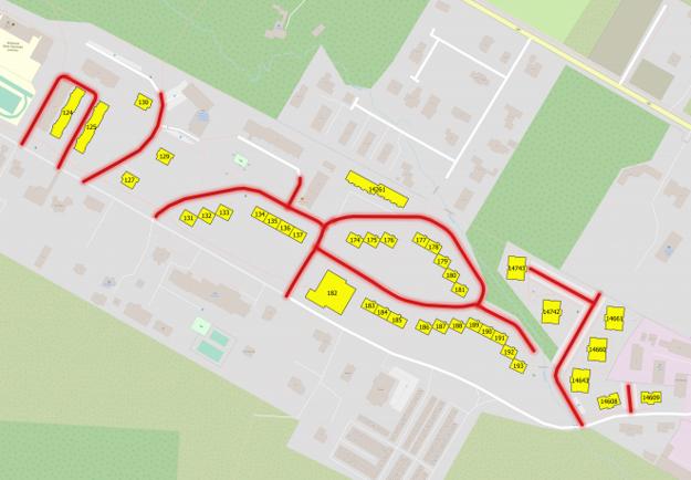 Mapa s dotknutými komunikáciami a vybratými bytovými domami pre pilotný projekt.