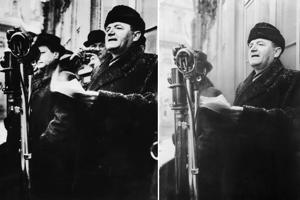 Tak ako bol vyretušovaný Vladimír Clementis z fotografie s Klementom Gottwaldom, tak bol odstránený z učebníc dejepisu po procese a poprave aj Rudolf Slánský.