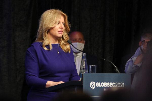 Prezidentka SR Zuzana Čaputová v príhovore počas medzinárodnej konferencie Globsec 2021.