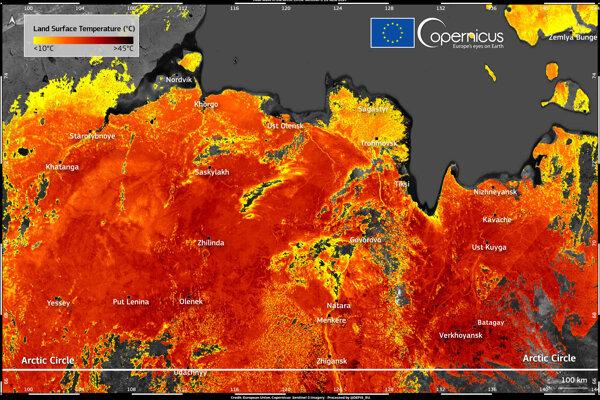 Povrchové teploty v Jakutsku na Sibíri.