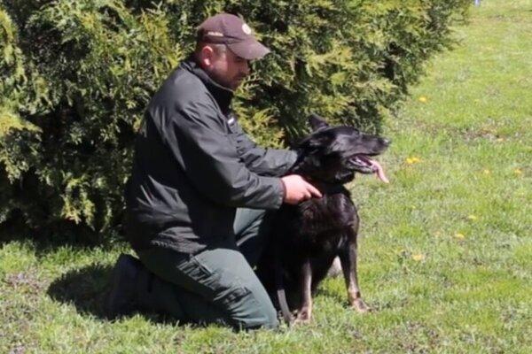 Jess so svojím psovodom Jurajom Linhartom zOkresného riaditeľstva Policajného zboru vPrievidzi.