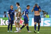 Smútok futbalistov Slovenska po zápase so Španielskom na EURO 2020.