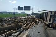 Diaľnicu blokovalo drevo.